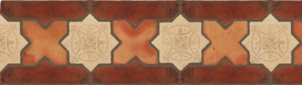 "Pedralbes Terracotta P&C:  BORDERS: STAR/CROSS + BORDER ""SC"": With DECORATIVE Designs  Pattern # PFB-242  Option: STAR-EE-33-PGGW+CROSS-PSTR + OHS-PSOW"