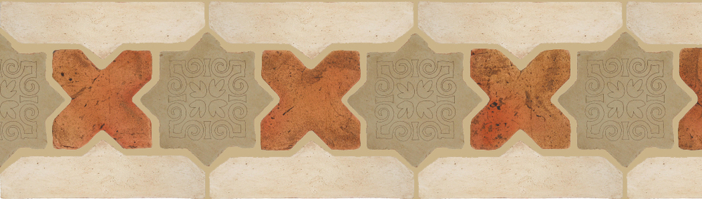 "Pedralbes Terracotta P&C:  BORDERS: STAR/CROSS + BORDER ""SC"": With DECORATIVE Designs  Pattern # PFB-246  Option: STAR-EE-560-PGDW+CROSS-PSTR + OHS-PGAW"