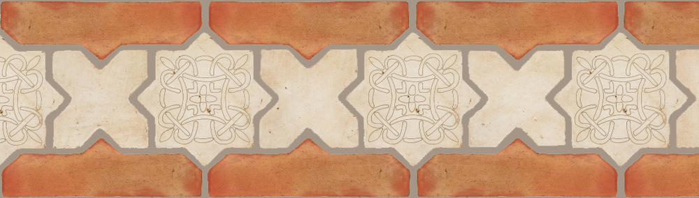 "Pedralbes Terracotta P&C:  BORDERS: STAR/CROSS + BORDER ""SC"": With DECORATIVE Designs  Pattern # PFB-245  Option: STAR-EE-300-PGAW+CROSS-PGAW + OHS-PSTR"