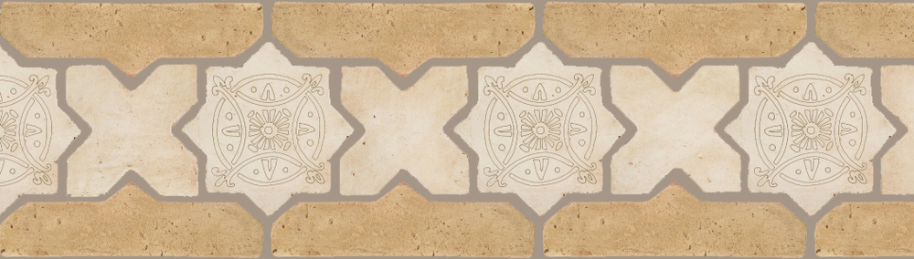 "Pedralbes Terracotta P&C:  BORDERS: STAR/CROSS + BORDER ""SC"": With DECORATIVE Designs  Pattern # PFB-248  Option: STAR-EE-330-PGAW+CROSS-PGAW + VTG-PGGW"