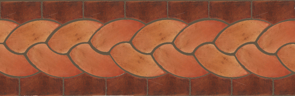 "Pedralbes Terracotta P&C:  BORDERS: ROPE (L+R) + ROPE BORDER ""R""  Pattern # PFB-110  Option: OHS-PSTR + OHS-PSOW"