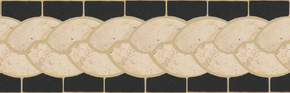 "Pedralbes Terracotta P&C:  BORDERS: ROPE (L+R) + ROPE BORDER ""R""  Pattern # PFB-111  Option: OHS-PGAW + OHS-PGCB"
