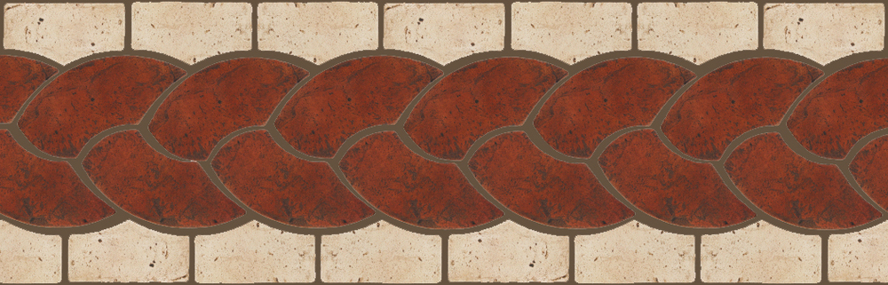 "Pedralbes Terracotta P&C:  BORDERS: ROPE (L+R) + ROPE BORDER ""R""  Pattern # PFB-117  Option: VTG-PSOW + VTG-PGAW"