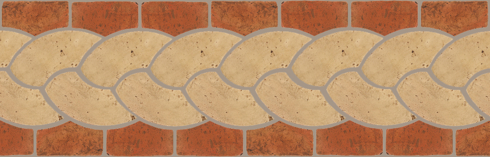 "Pedralbes Terracotta P&C:  BORDERS: ROPE (L+R) + ROPE BORDER ""R""  Pattern # PFB-118  Option: VTG-PGGW + VTG-PSTR"