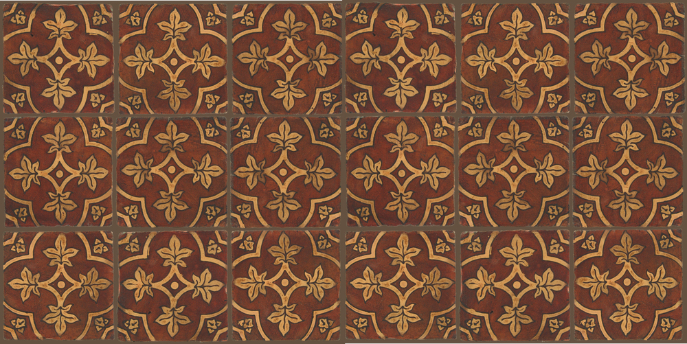 Pedralbes Terracotta: RUGS & PANELS  HAND PAINTED FIRE GLAZED Designs: BASILICA  Designs: GB-04-OC-PSOW
