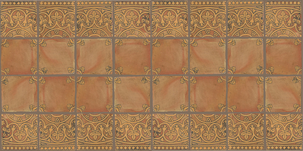 Pedralbes Terracotta: RUGS & PANELS  HAND PAINTED FIRE GLAZED Designs: BASILICA  Designs: GB-11-OC-PSTR + GB-01-OC-PSTR