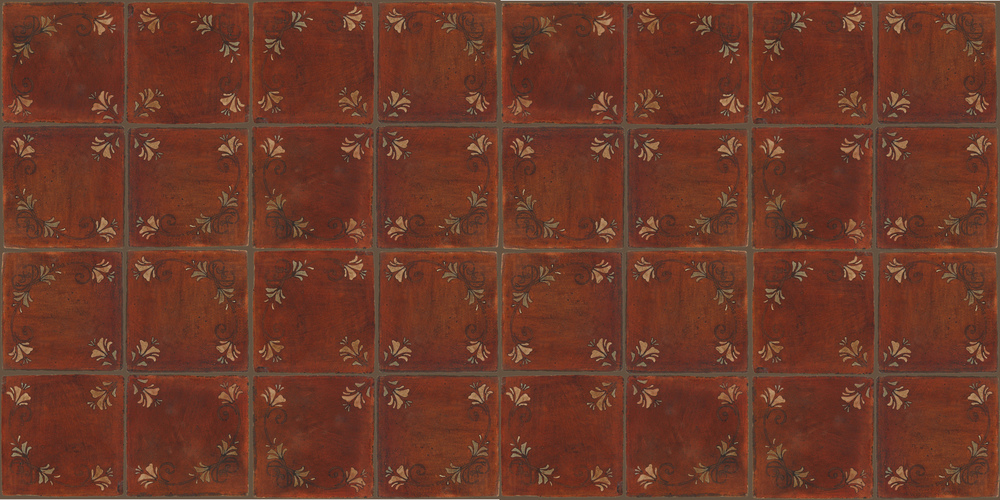 Pedralbes Terracotta: RUGS & PANELS  HAND PAINTED FIRE GLAZED Designs: FLOWER BRANCH  Designs: GF-03-NT-PSOW