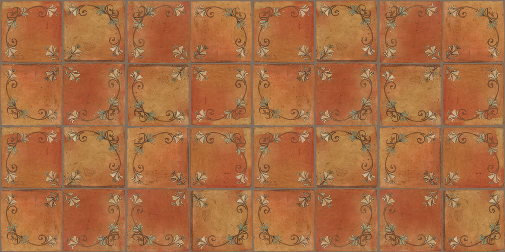 Pedralbes Terracotta: RUGS & PANELS  HAND PAINTED FIRE GLAZED Designs: FLOWER BRANCH  Designs: GF-07-NT-PSTR