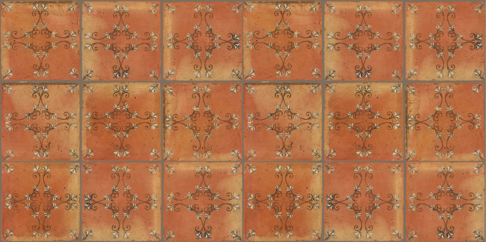 Pedralbes Terracotta: RUGS & PANELS  HAND PAINTED FIRE GLAZED Designs: FLOWER BRANCH  Designs: GF-08-NT-PSTR