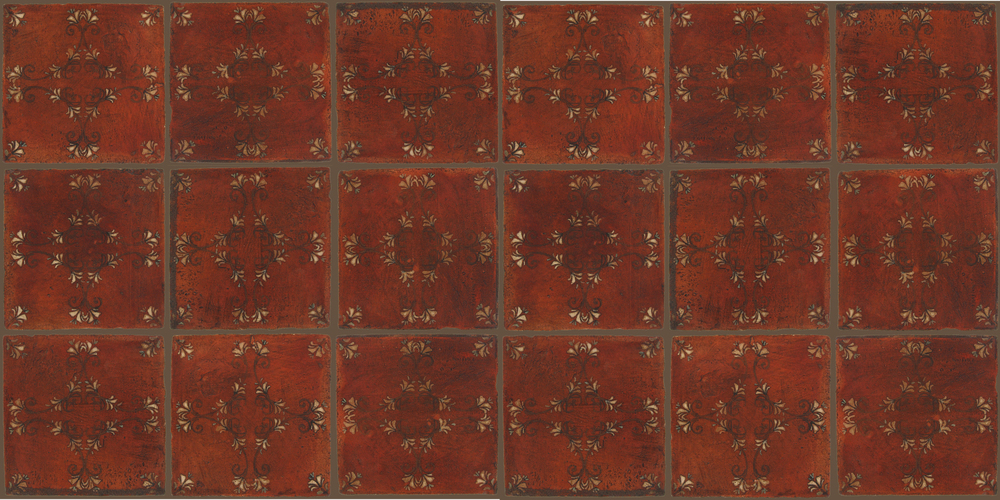 Pedralbes Terracotta: RUGS & PANELS  HAND PAINTED FIRE GLAZED Designs: FLOWER BRANCH  Designs: GF-08-NT-PSOW