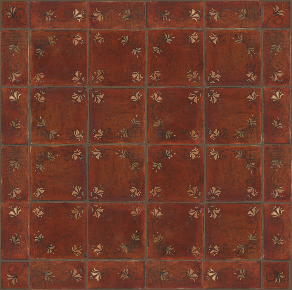 Pedralbes Terracotta: RUGS & PANELS  HAND PAINTED FIRE GLAZED Designs: FLOWER BRANCH  Designs: GF-11-NT-PSOW + GF-21-NT-PSOW + GF-07-NT-PSOW
