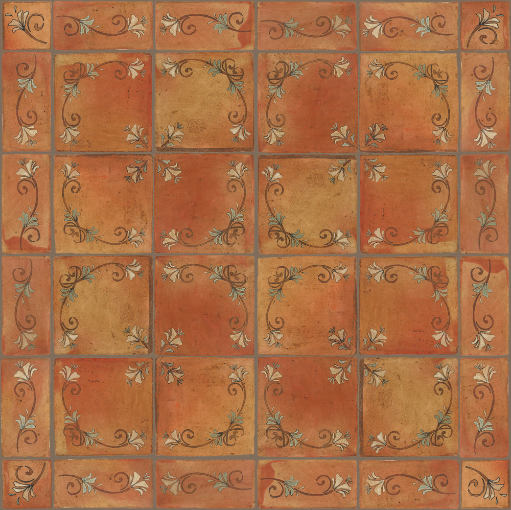 Pedralbes Terracotta: RUGS & PANELS  HAND PAINTED FIRE GLAZED Designs: FLOWER BRANCH  Designs: GF-11-NT-PSTR + GF-21-NT-PSTR + GF-07-NT-PSTR