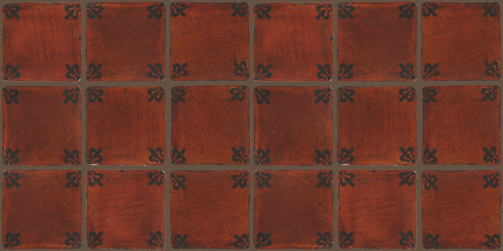 Pedralbes Terracotta: RUGS & PANELS  HAND PAINTED FIRE GLAZED Designs: MEDIEVAL HARNESS  Designs: GH-03-SB-PSOW