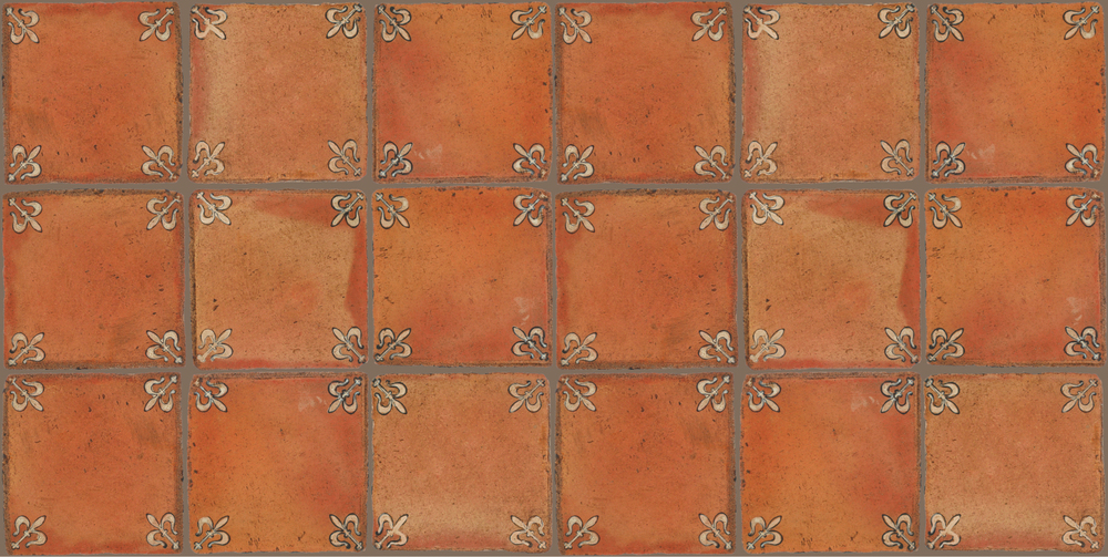 Pedralbes Terracotta: RUGS & PANELS  HAND PAINTED FIRE GLAZED Designs: MEDIEVAL HARNESS  Designs: GH-03-AW-PSTR