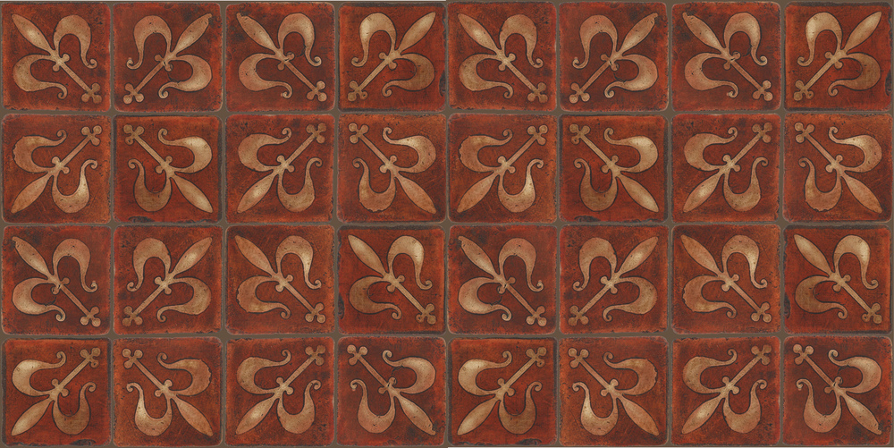 Pedralbes Terracotta: RUGS & PANELS  HAND PAINTED FIRE GLAZED Designs: MEDIEVAL HARNESS  Designs: GH-07-AW-PSOW