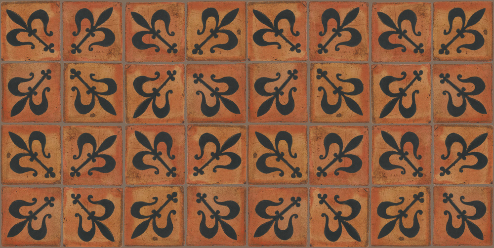 Pedralbes Terracotta: RUGS & PANELS  HAND PAINTED FIRE GLAZED Designs: MEDIEVAL HARNESS  Designs: GH-07-SB-PSTR