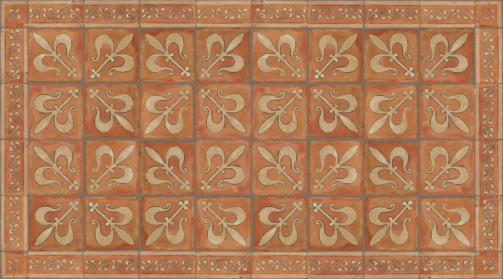 Pedralbes Terracotta: RUGS & PANELS  HAND PAINTED FIRE GLAZED Designs: MEDIEVAL HARNESS  Designs: GH-07-AW-PSTR + GH-11-AW-PSTR + GH-21-AW-PSTR
