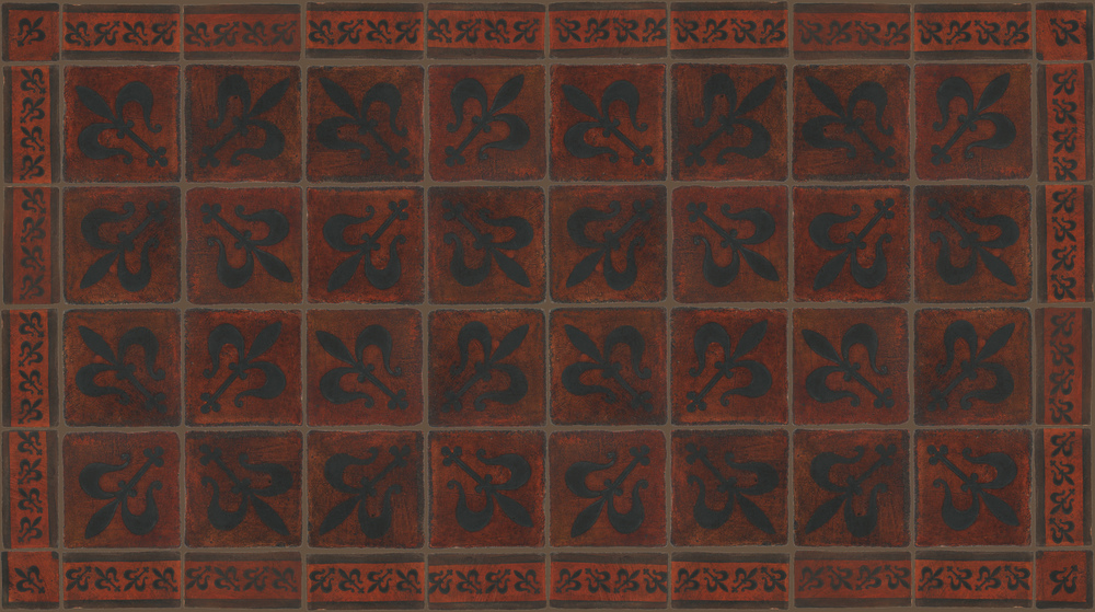 Pedralbes Terracotta: RUGS & PANELS  HAND PAINTED FIRE GLAZED Designs: MEDIEVAL HARNESS  Designs: GH-07-SB-PSOW + GH-11-SB-PSOW+ GH-21-SB-PSOW