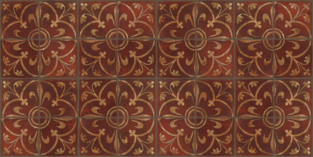 Pedralbes Terracotta: RUGS & PANELS  HAND PAINTED FIRE GLAZED Designs: MEDIEVAL SCROLL  Designs: GS-08-AW-PSOW