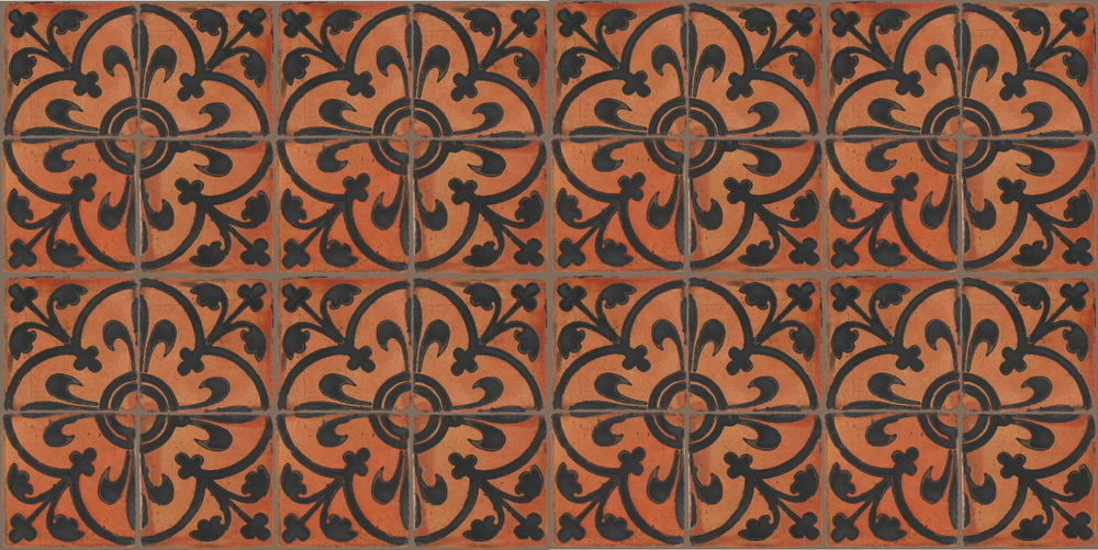 Pedralbes Terracotta: RUGS & PANELS  HAND PAINTED FIRE GLAZED Designs: MEDIEVAL SCROLL  Designs: GS-08-SB-PSTR
