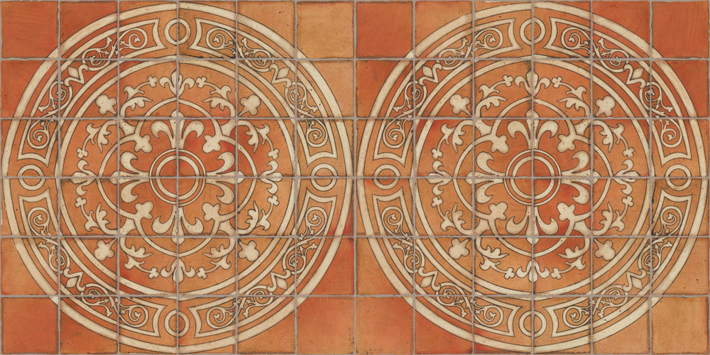 Pedralbes Terracotta: RUGS & PANELS  HAND PAINTED FIRE GLAZED Designs: MEDIEVAL SCROLL  Designs: GS-51-AW-PSTR (Medallion)