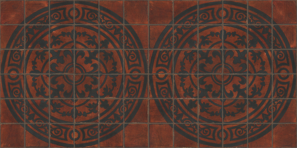 Pedralbes Terracotta: RUGS & PANELS  HAND PAINTED FIRE GLAZED Designs: MEDIEVAL SCROLL  Designs: GS-51-SB-PSOW (Medallion)