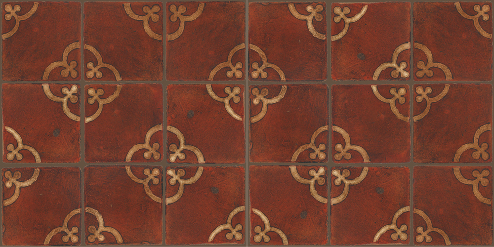 Pedralbes Terracotta: RUGS & PANELS  HAND PAINTED FIRE GLAZED Designs: TREBOLES  Designs: GT-02-SB-PSOW