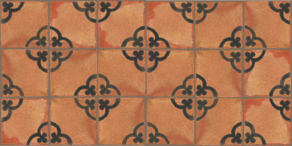 Pedralbes Terracotta: RUGS & PANELS  HAND PAINTED FIRE GLAZED Designs: TREBOLES  Designs: GT-02-SB-PSTR