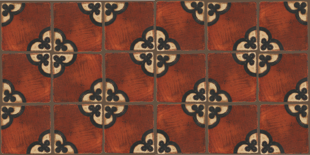 Pedralbes Terracotta: RUGS & PANELS  HAND PAINTED FIRE GLAZED Designs: TREBOLES  Designs: GT-02-WB-PSOW