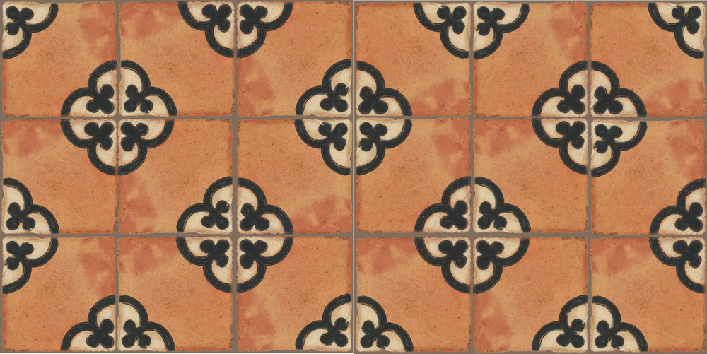 Pedralbes Terracotta: RUGS & PANELS  HAND PAINTED FIRE GLAZED Designs: TREBOLES  Designs: GT-02-WB-PSTR