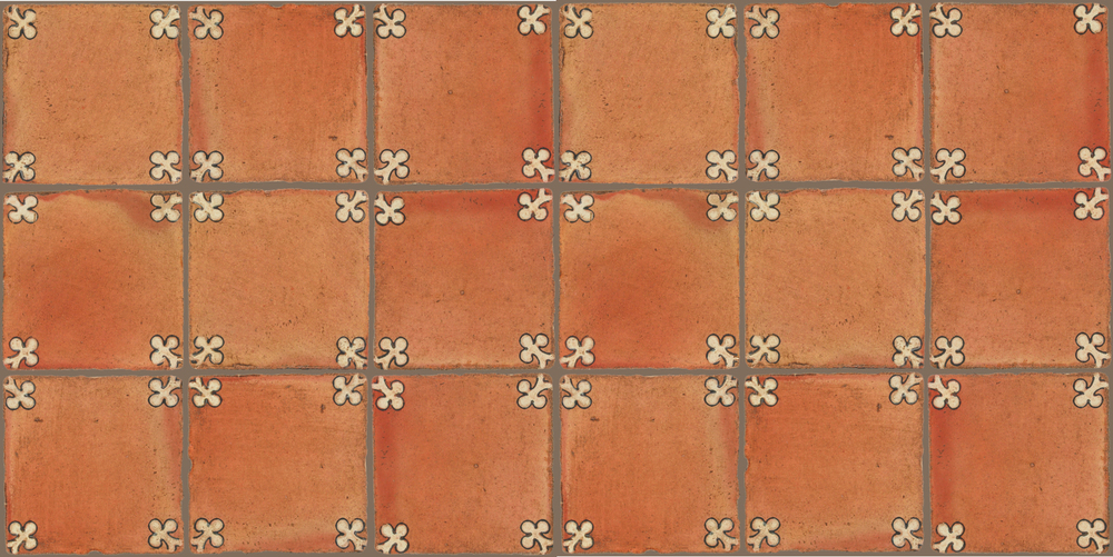 Pedralbes Terracotta: RUGS & PANELS  HAND PAINTED FIRE GLAZED Designs: TREBOLES  Designs: GT-03-AW-PSTR