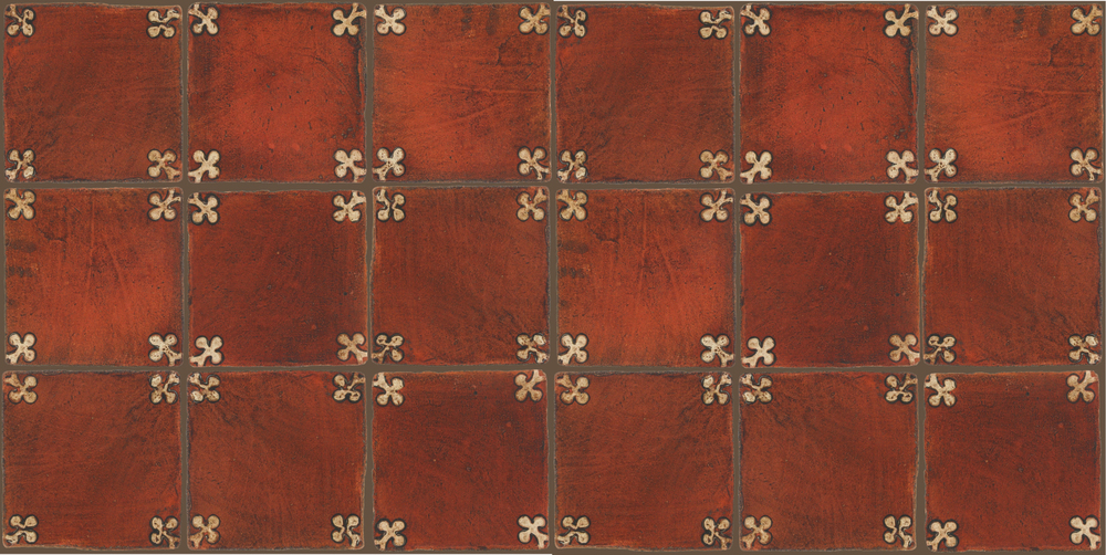 Pedralbes Terracotta: RUGS & PANELS  HAND PAINTED FIRE GLAZED Designs: TREBOLES  Designs: GT-03-AW-PSOW