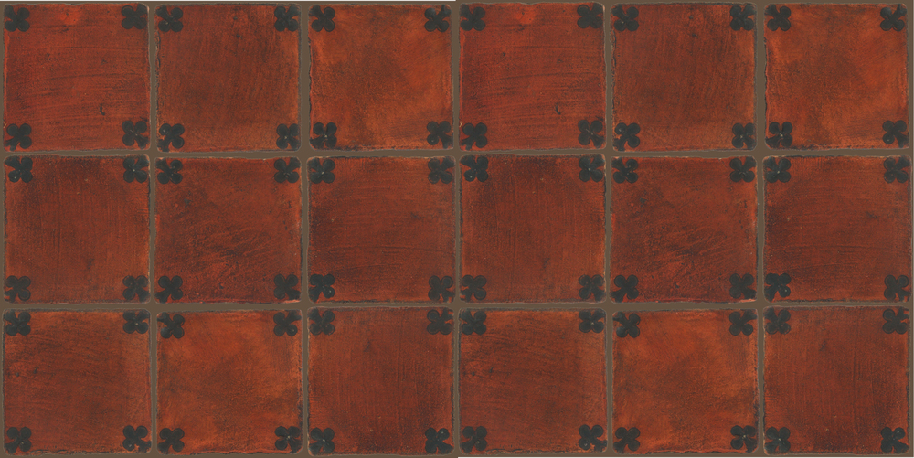 Pedralbes Terracotta: RUGS & PANELS  HAND PAINTED FIRE GLAZED Designs: TREBOLES  Designs: GT-03-SB-PSOW