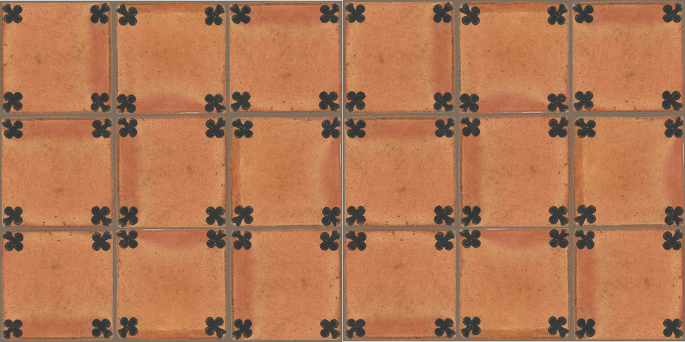 Pedralbes Terracotta: RUGS & PANELS  HAND PAINTED FIRE GLAZED Designs: TREBOLES  Designs: GT-03-SB-PSTR