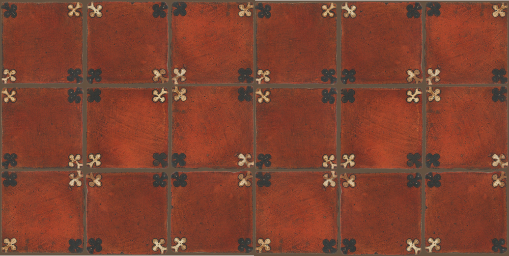 Pedralbes Terracotta: RUGS & PANELS  HAND PAINTED FIRE GLAZED Designs: TREBOLES  Designs: GT-03-WB-PSOW
