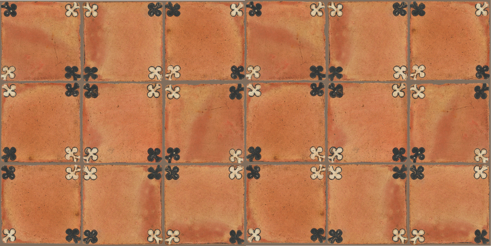 Pedralbes Terracotta: RUGS & PANELS  HAND PAINTED FIRE GLAZED Designs: TREBOLES  Designs: GT-03-WB-PSTR