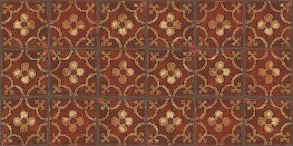 Pedralbes Terracotta: RUGS & PANELS  HAND PAINTED FIRE GLAZED Designs: TREBOLES  Designs: GT-06-AW-PSOW