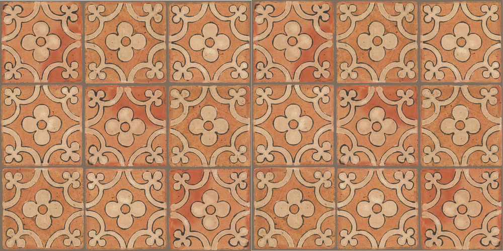 Pedralbes Terracotta: RUGS & PANELS  HAND PAINTED FIRE GLAZED Designs: TREBOLES  Designs: GT-06-AW-PSTR