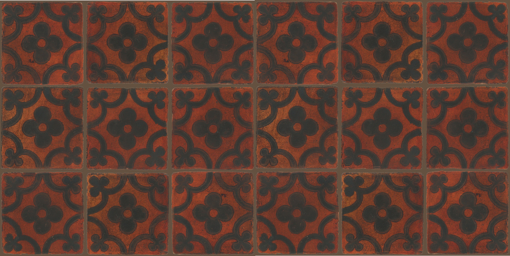 Pedralbes Terracotta: RUGS & PANELS  HAND PAINTED FIRE GLAZED Designs: TREBOLES  Designs: GT-06-SB-PSOW