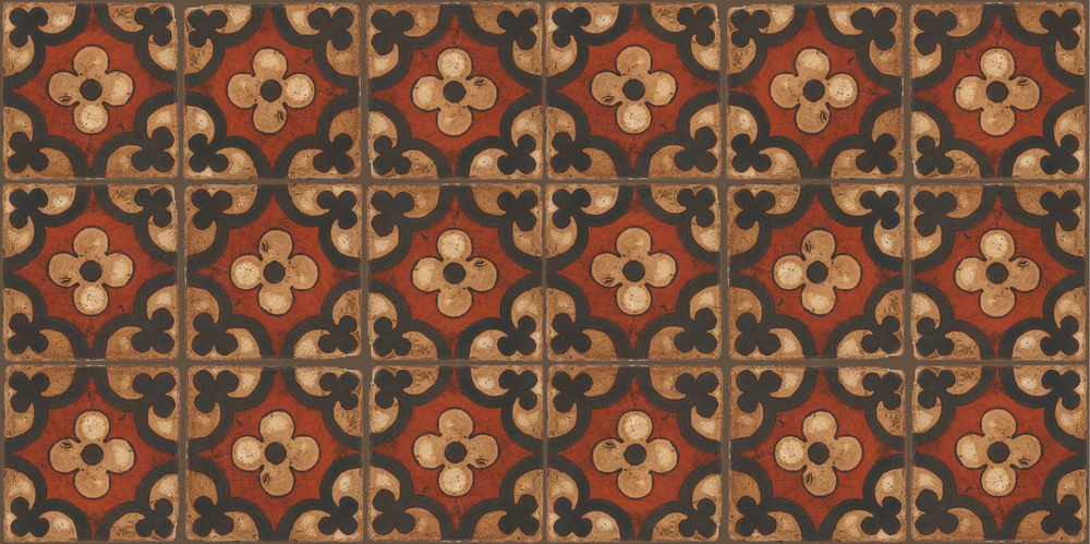 Pedralbes Terracotta: RUGS & PANELS  HAND PAINTED FIRE GLAZED Designs: TREBOLES  Designs: GT-06-WB-PSOW