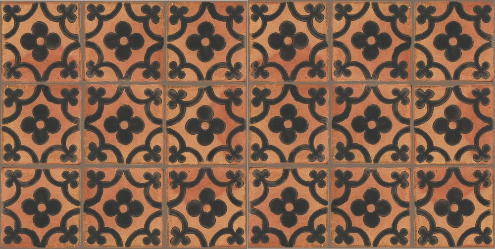 Pedralbes Terracotta: RUGS & PANELS  HAND PAINTED FIRE GLAZED Designs: TREBOLES  Designs: GT-06-SB-PSTR