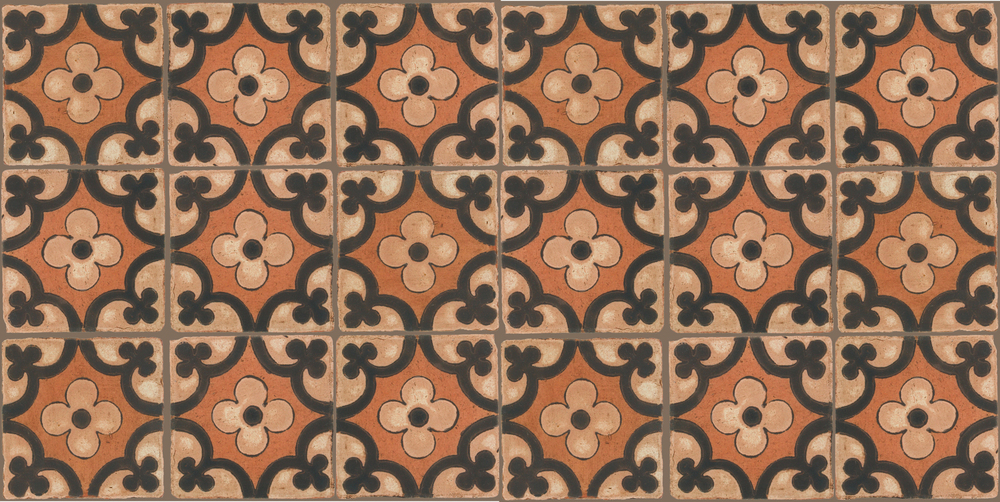 Pedralbes Terracotta: RUGS & PANELS  HAND PAINTED FIRE GLAZED Designs: TREBOLES  Designs: GT-06-WB-PSTR