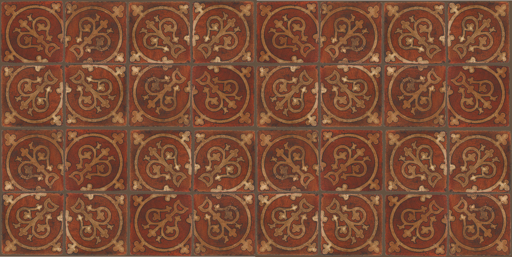 Pedralbes Terracotta: RUGS & PANELS  HAND PAINTED FIRE GLAZED Designs: TREBOLES  Designs: GT-07-AW-PSOW