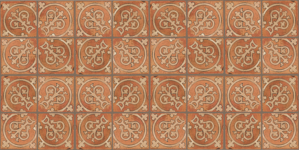 Pedralbes Terracotta: RUGS & PANELS  HAND PAINTED FIRE GLAZED Designs: TREBOLES  Designs: GT-07-AW-PSTR
