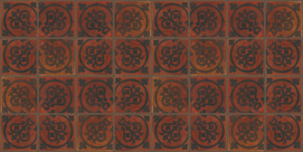 Pedralbes Terracotta: RUGS & PANELS  HAND PAINTED FIRE GLAZED Designs: TREBOLES  Designs: GT-07-SB-PSOW