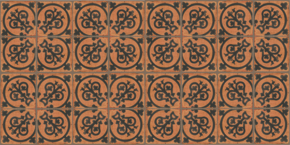 Pedralbes Terracotta: RUGS & PANELS  HAND PAINTED FIRE GLAZED Designs: TREBOLES  Designs: GT-07-SB-PSTR