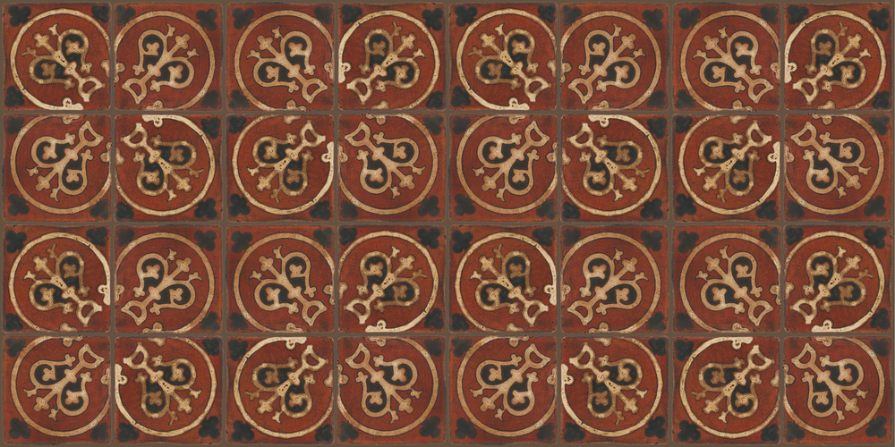 Pedralbes Terracotta: RUGS & PANELS  HAND PAINTED FIRE GLAZED Designs: TREBOLES  Designs: GT-07-WB-PSOW