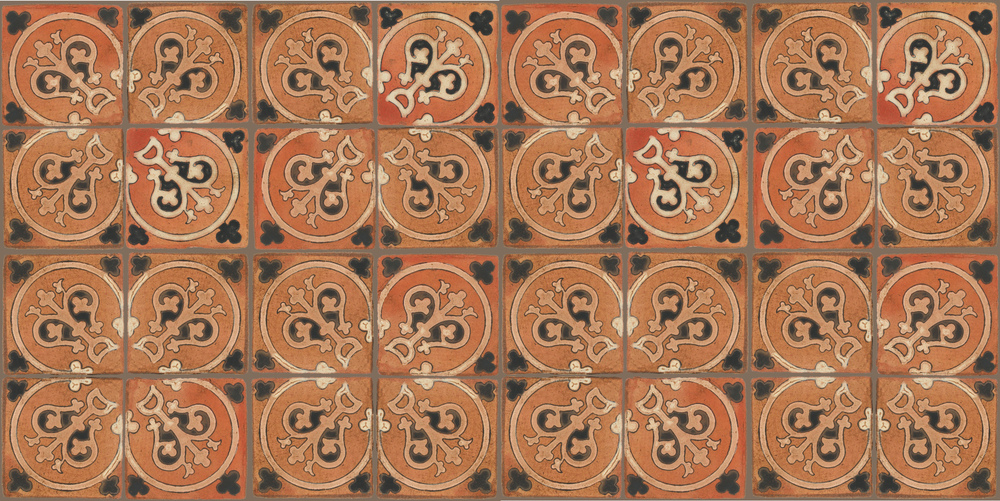 Pedralbes Terracotta: RUGS & PANELS  HAND PAINTED FIRE GLAZED Designs: TREBOLES  Designs: GT-07-WB-PSTR
