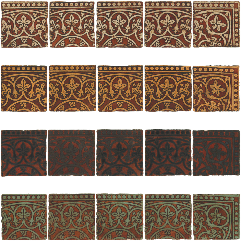 Pedralbes Antique Terracotta  Hand-Painted GLAZED Designs  BASILICA BORDERS & CORNERS  GB-11+21-AW-PSOW   GB-11+21-OC-PSOW    GB-11+21-SB-PSOW    GB-11+21-VG-PSOW