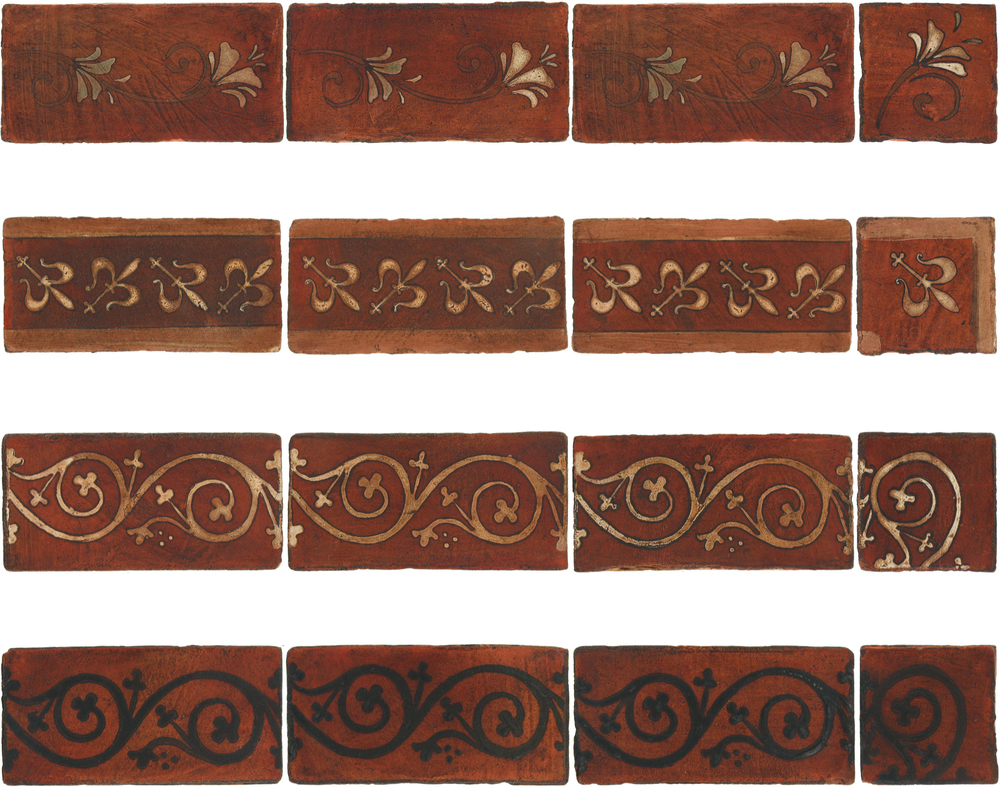 Pedralbes Antique Terracotta  Hand-Painted GLAZED Designs  BORDERS & CORNERS  GF-11+21-NT-PSOW   GH-11+21-AW-PSOW    GS-11+21-AW-PSOW      GS-11+21-SB-PSOW